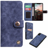 *SALE* Faux Suede Leather Wallet with Detachable Magnetic Case for iPhone XR - Dark Blue