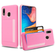 Poket Credit Card Hybrid Armor Case for Samsung Galaxy A20 - Pink