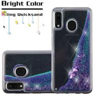 Quicksand Glitter Transparent Case for Samsung Galaxy A20 - Purple
