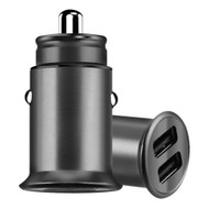 3.5 Amp Aluminum Alloy Car Charger with Dual USB Charging Ports - Black