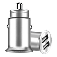 3.5 Amp Aluminum Alloy Car Charger with Dual USB Charging Ports - Silver