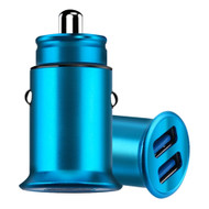 3.5 Amp Aluminum Alloy Car Charger with Dual USB Charging Ports - Blue