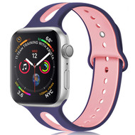 Duo Color Sport Band Watch Strap for Apple Watch 44mm / 42mm - Navy Blue Pink