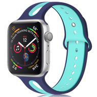 Duo Color Sport Band Watch Strap for Apple Watch 44mm / 42mm - Navy Blue Baby Blue
