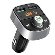 Bluetooth Wireless FM Transmitter Hands-Free Car Kit with Quick Charge 3.0 USB Charger