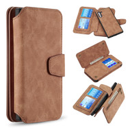 3-IN-1 Luxury Coach Series Leather Wallet with Detachable Magnetic Case for Samsung Galaxy Note 10 - Brown