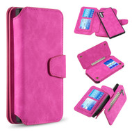 3-IN-1 Luxury Coach Series Leather Wallet with Detachable Magnetic Case for Samsung Galaxy Note 10 - Hot Pink