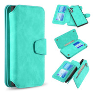 3-IN-1 Luxury Coach Series Leather Wallet with Detachable Magnetic Case for Samsung Galaxy Note 10 - Teal