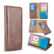 2-IN-1 Luxury Magnetic Leather Wallet Case for Samsung Galaxy Note 10 - Brown