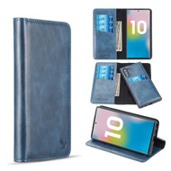 2-IN-1 Luxury Magnetic Leather Wallet Case for Samsung Galaxy Note 10 - Navy Blue