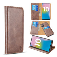 2-IN-1 Luxury Magnetic Leather Wallet Case for Samsung Galaxy Note 10 Plus - Brown