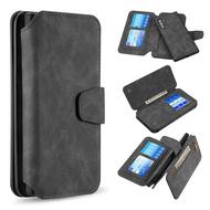3-IN-1 Luxury Coach Series Leather Wallet with Detachable Magnetic Case for Samsung Galaxy Note 10 Plus - Black