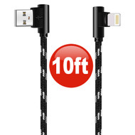 "10 ft. ""L"" Connector Lightning Braided Charge & Sync Cable - Black Silver"