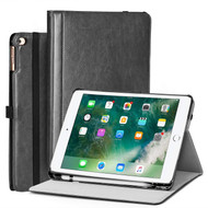 Stand Folio Smart Leather Hybrid Case for iPad (2018/2017) / iPad Air 2 / iPad Air - Black