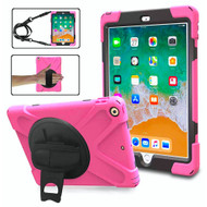 *SALE* 3-IN-1 Hybrid Armor Case with Hand Strap and Rotatable Stand for iPad (2018/2017) - Hot Pink