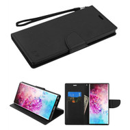 Crossgrain Series Diary Leather Wallet Stand Case for Samsung Galaxy Note 10 Plus - Black