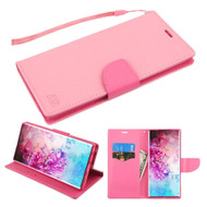 Crossgrain Series Diary Leather Wallet Stand Case for Samsung Galaxy Note 10 Plus - Pink