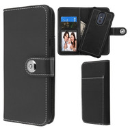 *Sale* 2-IN-1 Premium Leather Wallet with Removable Magnetic Case for LG Stylo 5 - Black