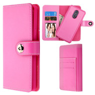 *Sale* 2-IN-1 Premium Leather Wallet with Removable Magnetic Case for LG Stylo 5 - Hot Pink