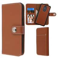 2-IN-1 Premium Leather Wallet with Removable Magnetic Case for LG Stylo 5 - Brown