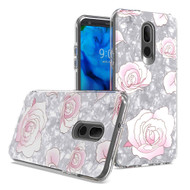 Pearl Seashell Dual Layer Hybrid Case for LG Stylo 5 - Roses