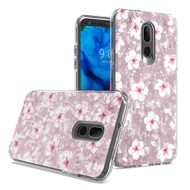 Pearl Seashell Dual Layer Hybrid Case for LG Stylo 5 - Hibiscus