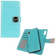 Premium Leather Wallet with Removable Magnetic Case for Samsung Galaxy A10e - Turquoise