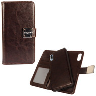 Premium Leather Wallet with Removable Magnetic Case for Samsung Galaxy A10e - Dark Brown