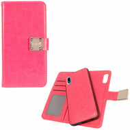 Premium Leather Wallet with Removable Magnetic Case for Samsung Galaxy A10e - Hot Pink