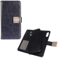 Premium Leather Wallet with Removable Magnetic Case for Samsung Galaxy A10e - Navy Blue