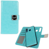 Premium Leather Wallet with Removable Magnetic Case for Samsung Galaxy A50 / A20 - Turquoise