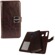 Premium Leather Wallet with Removable Magnetic Case for Samsung Galaxy A50 / A20 - Dark Brown
