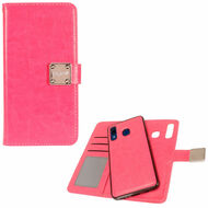 Premium Leather Wallet with Removable Magnetic Case for Samsung Galaxy A50 / A20 - Hot Pink