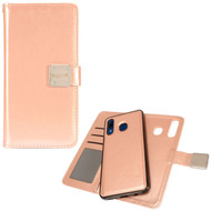 Premium Leather Wallet with Removable Magnetic Case for Samsung Galaxy A50 / A20 - Rose Gold