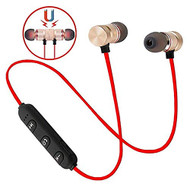 *SALE* Magnetic Earbuds Bluetooth 4.1 Wireless Aluminum Alloy Headphones - Gold Red