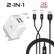 Dual USB Fast Wall Charger + Hybrid 2-IN-1 (USB-C & Micro-USB) Cable - Black