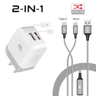 Dual USB Fast Wall Charger + Hybrid 2-IN-1 (USB-C & Micro-USB) Cable - Silver