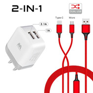 Dual USB Fast Wall Charger + Hybrid 2-IN-1 (USB-C & Micro-USB) Cable - Red