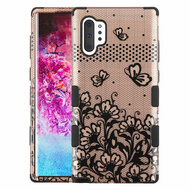 Military Grade Certified TUFF Hybrid Armor Case for Samsung Galaxy Note 10 Plus - Lace Flowers Rose Gold