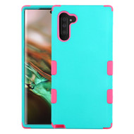 Military Grade Certified TUFF Hybrid Armor Case for Samsung Galaxy Note 10 - Teal Green Hot Pink