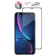 3D Curved Edge Full Coverage Tempered Glass Screen Protector with Dustproof Net for iPhone 11 / iPhone XR - Black