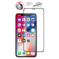 3D Curved Edge Full Coverage Tempered Glass Screen Protector with Dustproof Net for iPhone XS / X - Black
