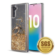 Quicksand Glitter Case with Smart Loop Ring Holder for Samsung Galaxy Note 10 - Gold