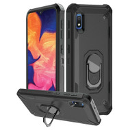 Military Grade Certified Brigade Hybrid Armor Case with Metal Ring Finger Loop Stand for Samsung Galaxy A10e - Black