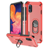 Military Grade Certified Brigade Hybrid Armor Case with Metal Ring Finger Loop Stand for Samsung Galaxy A10e - Red