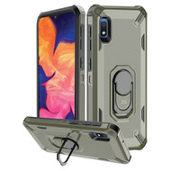 Military Grade Certified Brigade Hybrid Armor Case with Metal Ring Finger Loop Stand for Samsung Galaxy A10e - Dark Grey