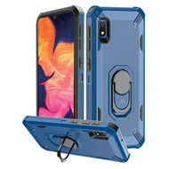 Military Grade Certified Brigade Hybrid Armor Case with Metal Ring Finger Loop Stand for Samsung Galaxy A10e - Navy Blue