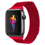 Magnetic Mesh Band Stainless Steel Watch Strap for Apple Watch 44mm / 42mm - Red