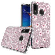 Pearl Seashell Dual Layer Hybrid Case for Samsung Galaxy A50 / A20 - Hibiscus