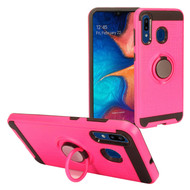 Multifunctional Hybrid Armor Case with Smart Loop Ring Holder for Samsung Galaxy A50 / A20 - Hot Pink
